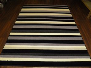 Modern 7x5ft 150x210cm Woven Backed Stripe Rugs Top Quality  BARGAINS Grey/Black